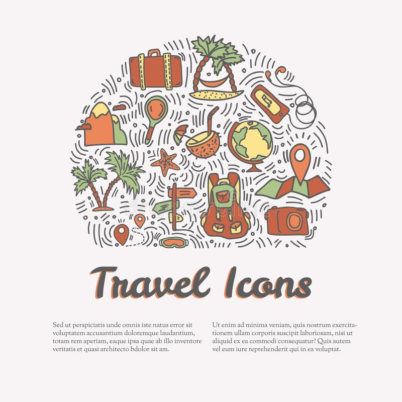 Summer and beach hand draw icon concept. Travel summer icons collection in round form with cartoon decorative elements. Coconut, surfing boat, sand, ice cream royalty free illustration