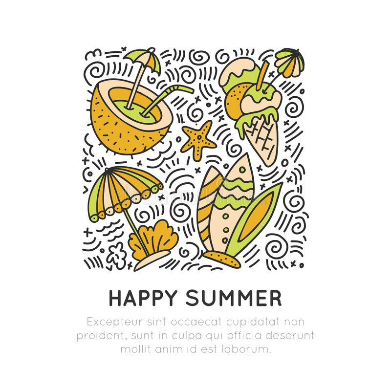 Summer and beach hand draw icon concept. Travel summer icons collection in square form with cartoon decorative elements. Coconut, surfing boat, sand, ice cream vector illustration