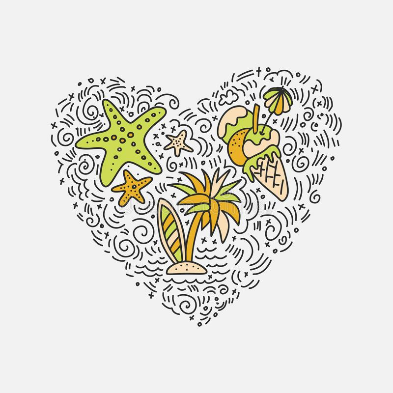 Summer and beach hand draw icon concept. Travel summer icons collection in heart form with cartoon decorative elements. Coconut, surfing boat, sand, ice cream stock illustration