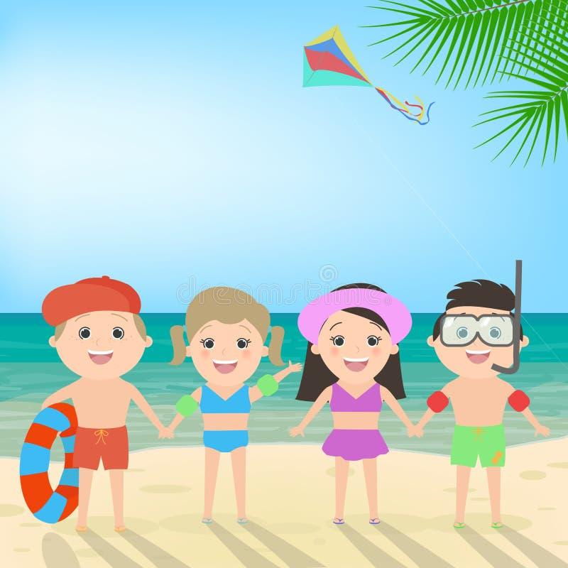 Summer beach holiday. Children on the beach. Sea landscape, vector cartoon stock illustration