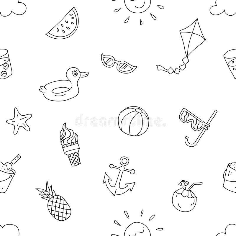 Summer beach holiday seamless pattern. ready to print hand drawing cartoon style design for paper, fabric production. Black white transparent isolated vector royalty free illustration