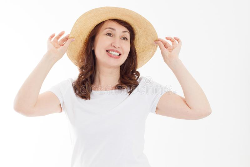 Summer beach holiday, vacation concept. Woman in hat and template blank t shirt isolated on white background. Copy space on tshirt royalty free stock images