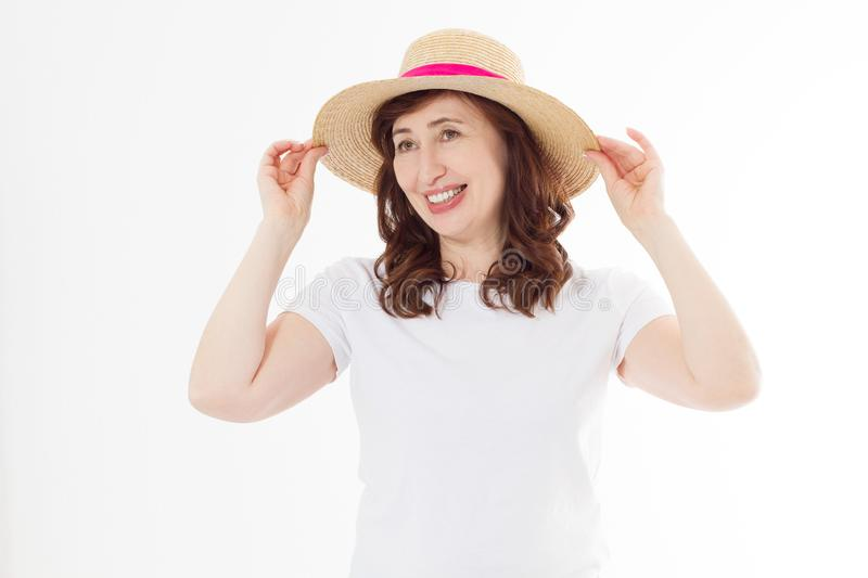 Summer beach holiday, vacation concept. Woman in hat and template blank t shirt isolated on white background. Copy space on tshirt royalty free stock photography