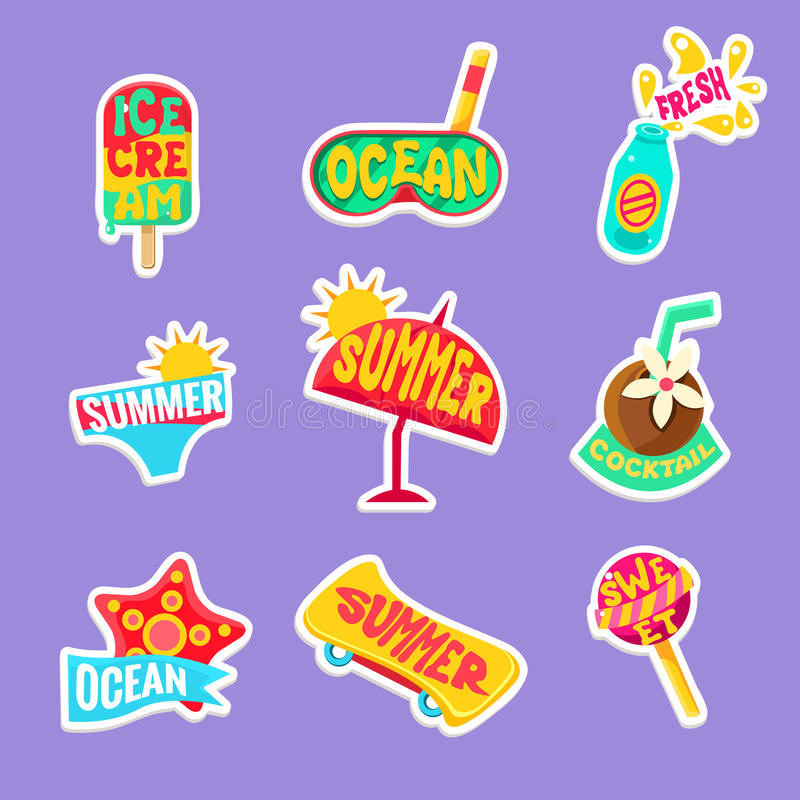 Summer Beach Holidays Stickers With Text Set royalty free illustration