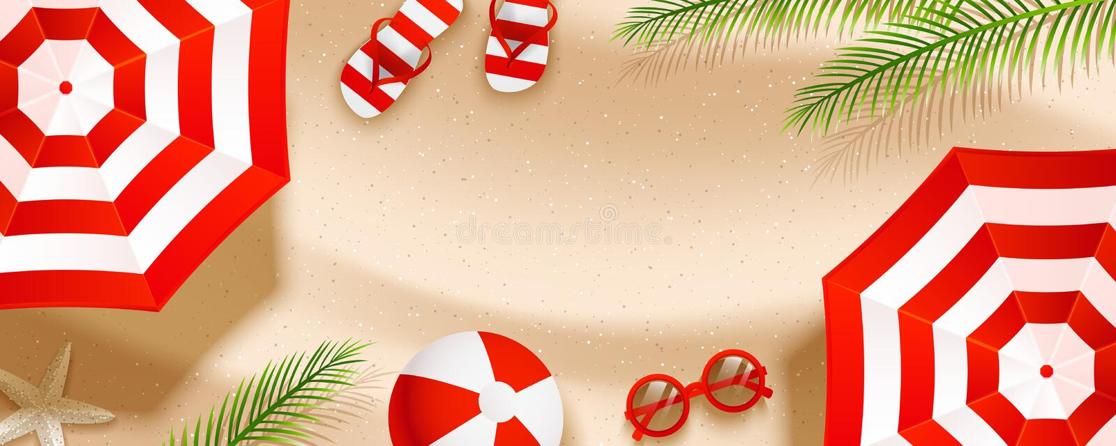 Summer beach horizontal banner with sun umbrellas, flip flops, sunglasses, ball and palm leaves on sand. Background vector illustration