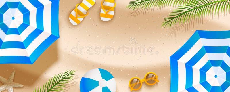Summer  beach horizontal banner with sun umbrellas, flip flops, sunglasses, ball and palm leaves on sand. Summer beach horizontal banner with sun umbrellas, flip stock illustration