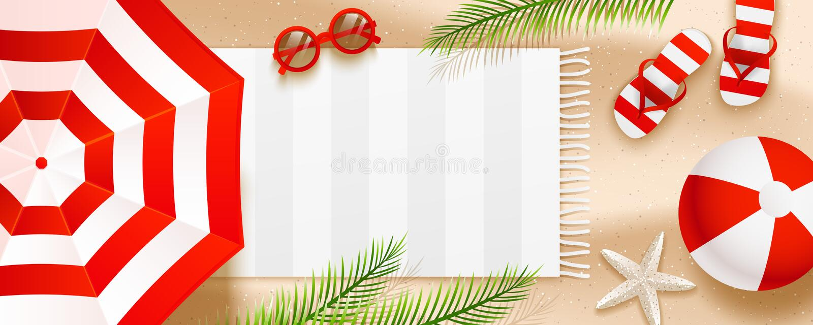 Summer beach horizontal banner with sun umbrellas, flip flops, sunglasses, ball, towel and palm leaves on sand vector illustration