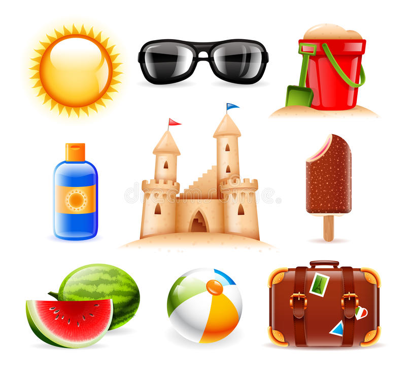 Download Summer and beach icons stock vector. Illustration of chocolate - 32071927