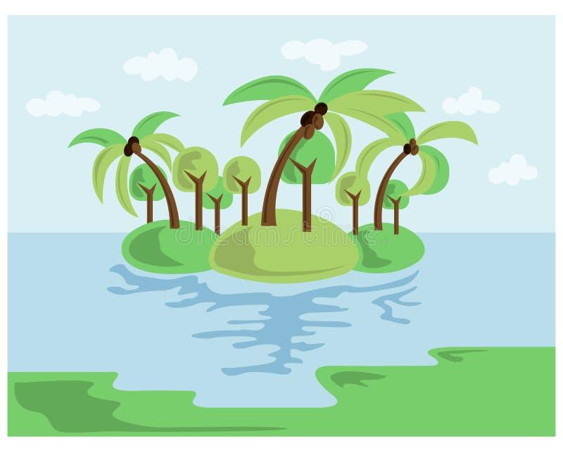 Summer beach illustration abstract sun and palm tree on seaside. Beach logo with sea wave coconut leaf and sun vector set design. Summer beach illustration stock illustration