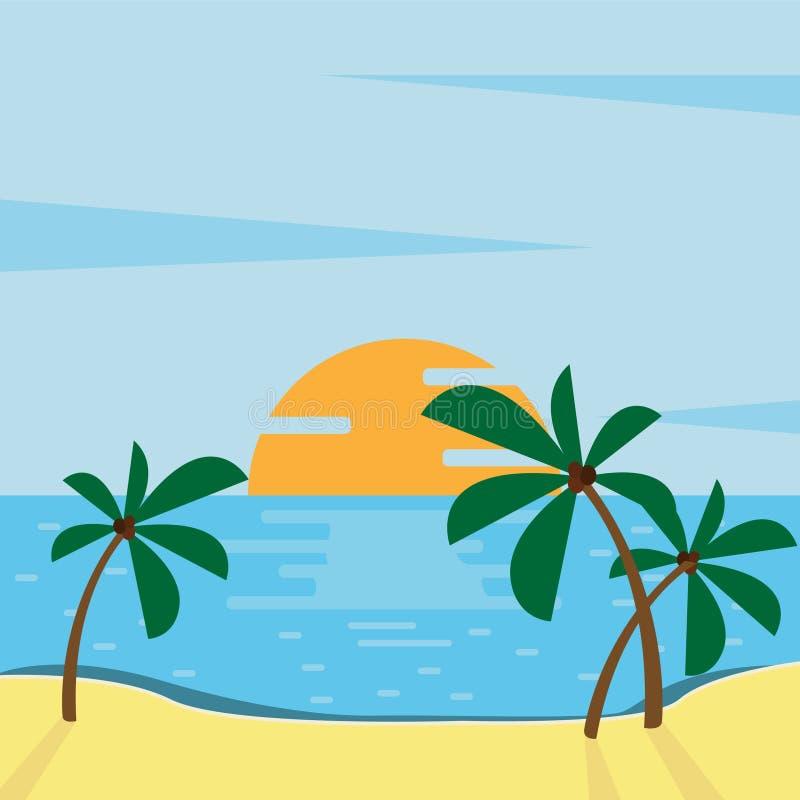 Summer beach illustration abstract sun and palm tree on seaside. Beach logo with sea wave coconut leaf and sun vector set design. Summer beach illustration vector illustration