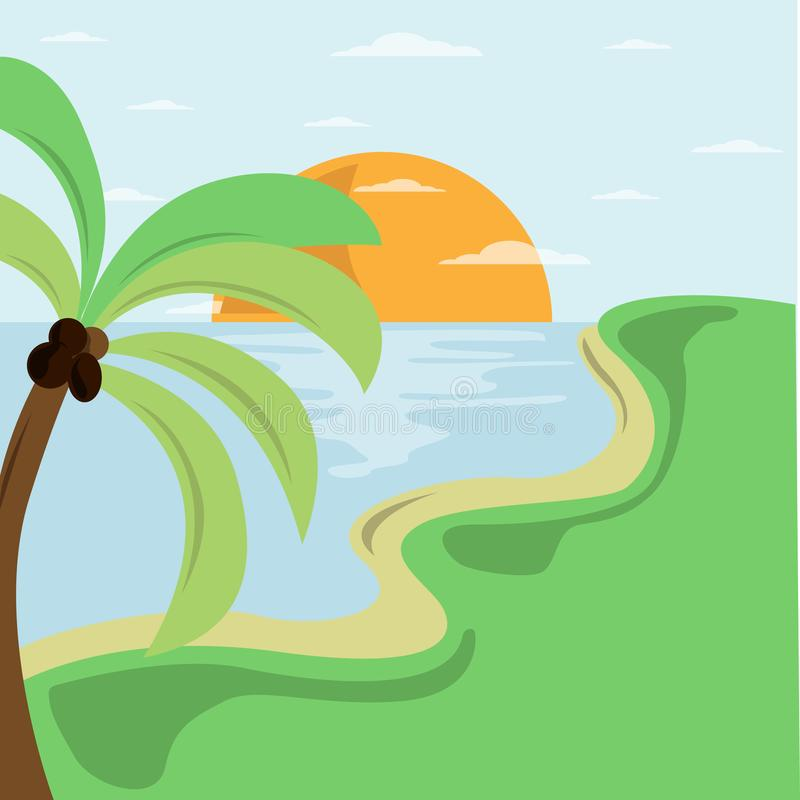 Summer beach illustration on seaside. Vector logo design template. royalty free illustration