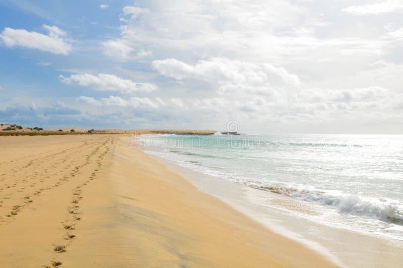 Boa Vista island, Cape Verde, Africa. Summer beach landscape on Boa Vista island, Cape Verde, Africa royalty free stock images