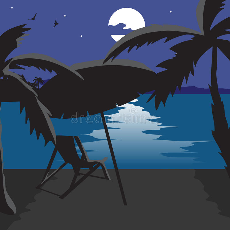 Download Summer Beach Landscape At Night Silhouettes Of Palm Trees Stock Illustration