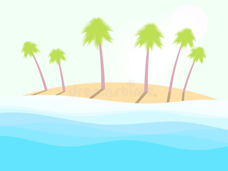 Summer beach. Landscape with palm trees, sea waves and the sun. Vector. Illustration stock illustration