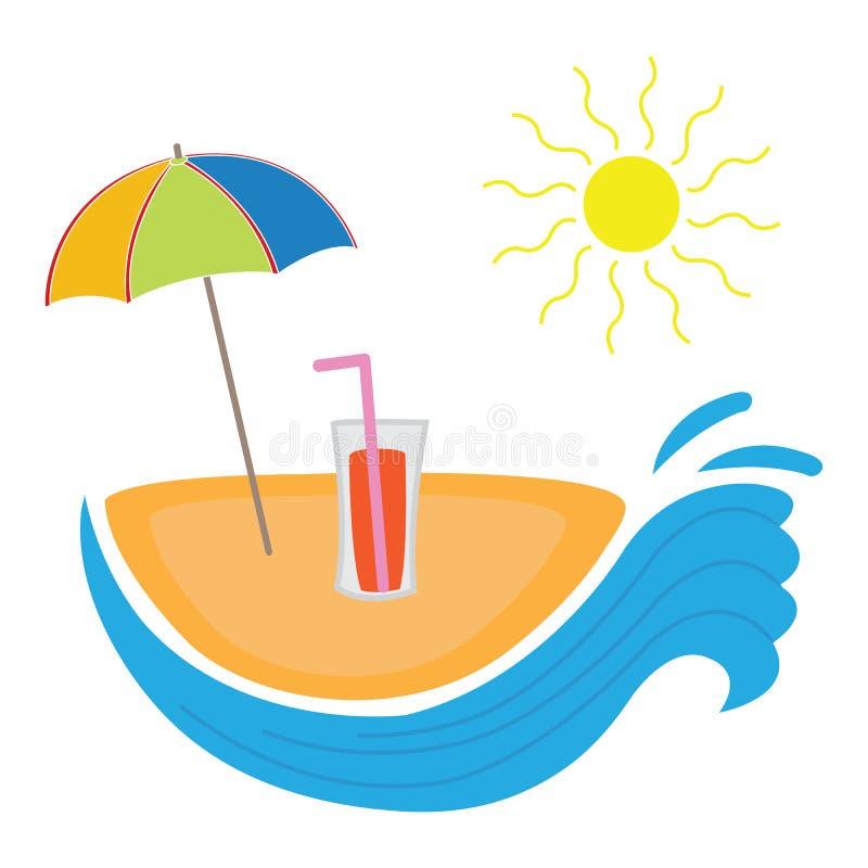 Summer beach logo. Vector illustration of summer beach warm days swimming logo royalty free illustration