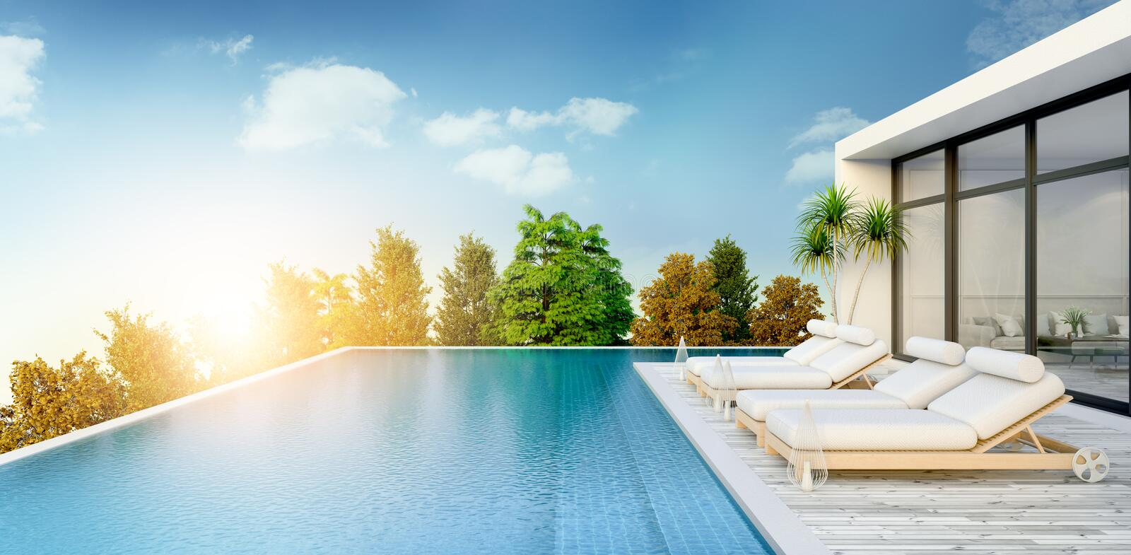 Summer ,beach lounge, sun loungers on Sunbathing deck and private swimming pooland panoramic sea view at luxury villa/3d renderin. G royalty free illustration