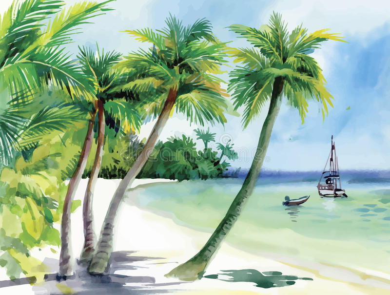 Summer beach with palm trees, seagulls and boat on shore, hand drawn, vector stock illustration