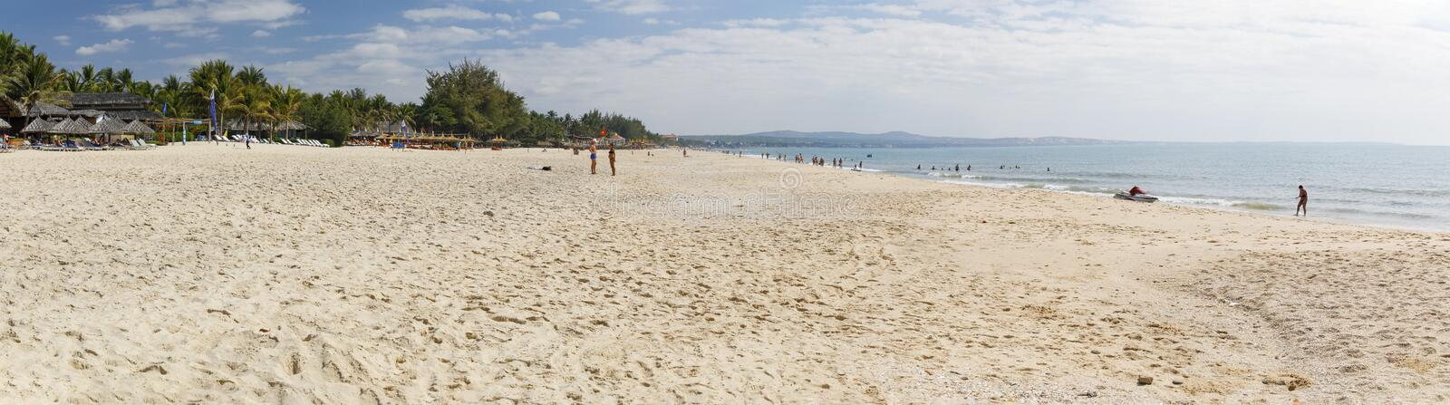 Summer beach panorama in Nam Tien, Vietnam stock photos