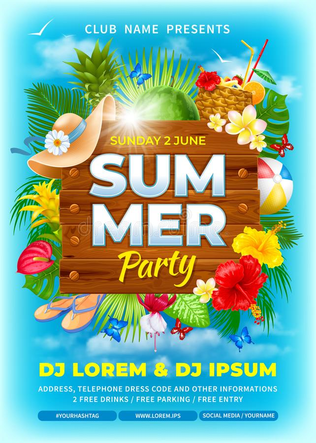 Summer Beach Party Advertisement Poster Template vector illustration
