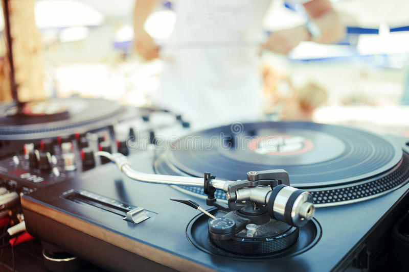 Albums on turntable stock photography