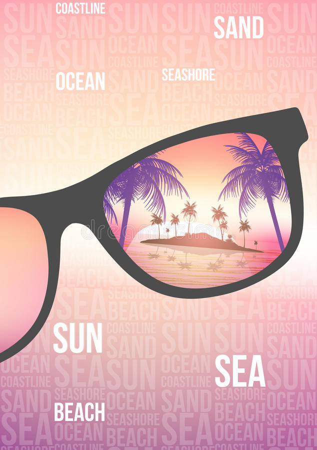 Summer Beach Party Flyer Design with Sunglasses on Blurred Background - Vector Illustration. royalty free illustration