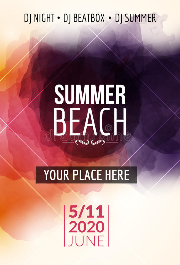 Summer beach party flyer template design. Summer party design layout event.  stock illustration