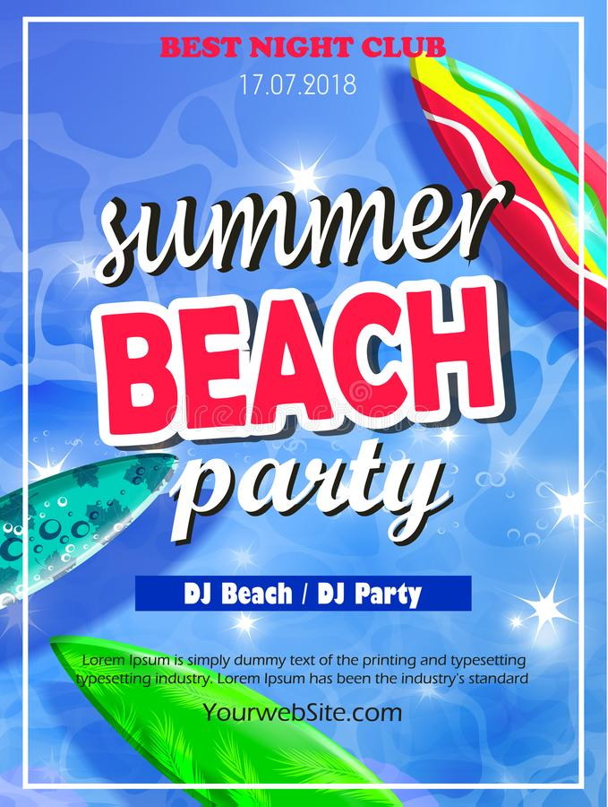Summer Beach Party Template stock illustration