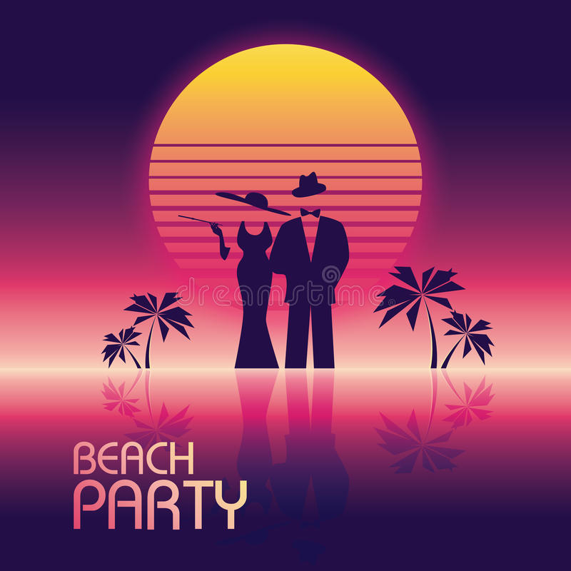 Summer beach party vector banner or flyer template. 80s retro neon glow style. Elegant, stylish man in suit, woman in vector illustration