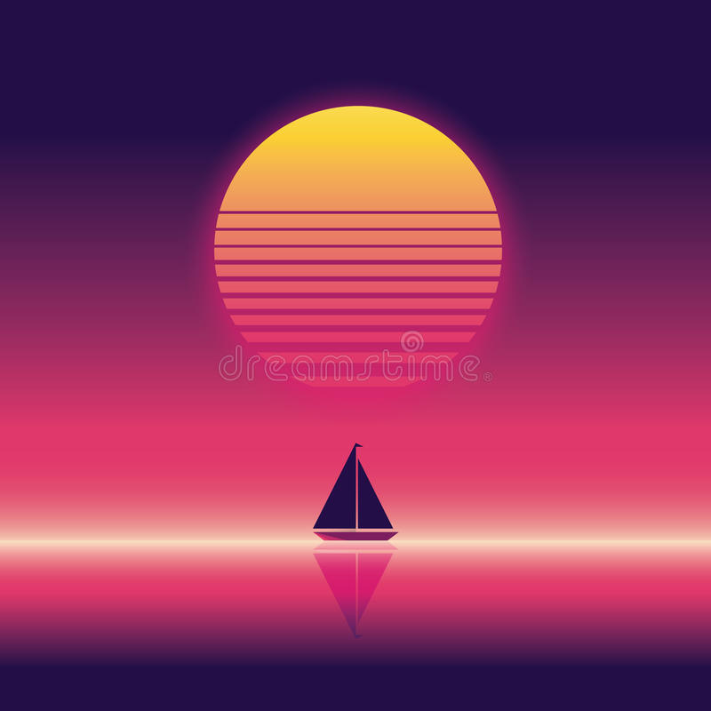 Summer beach party vector banner or flyer template. 80s retro neon glow style. Yacht sailing on horizon. Eps10 vector illustration vector illustration