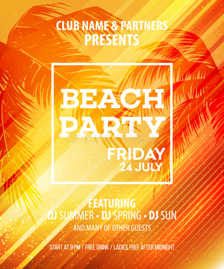 Summer Beach Party Vector Flyer Template royalty free illustration