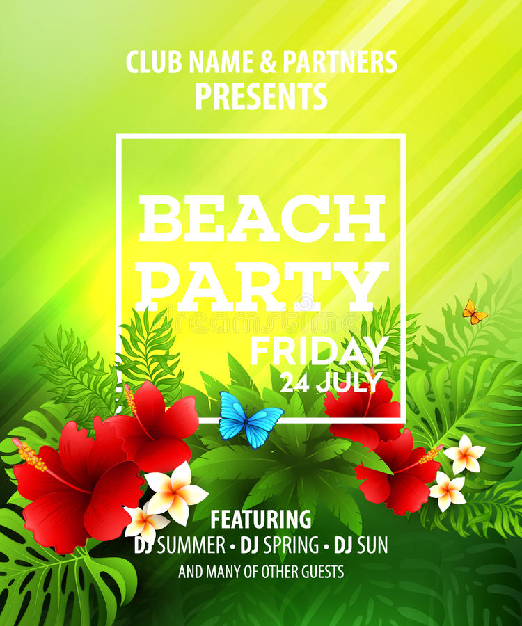 Summer Beach Party Vector Flyer Template vector illustration