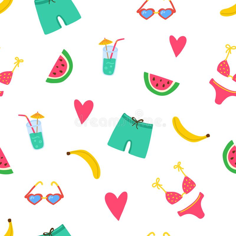 Summer beach pattern with swimsuits, watermelon pices, banana, coctail, hearts. Summer vibes texture. Modern bright vector illustration