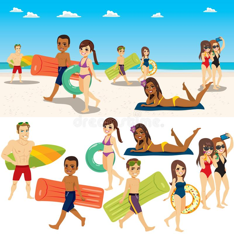 Summer Beach People Collection royalty free illustration
