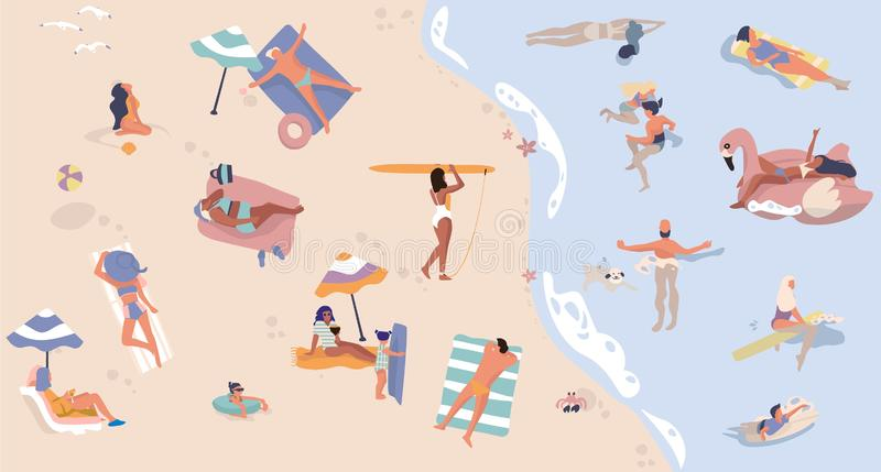 Summer beach with people. Men and women doing vacation activities, swimming lying and sitting cartoon characters. Vector royalty free illustration