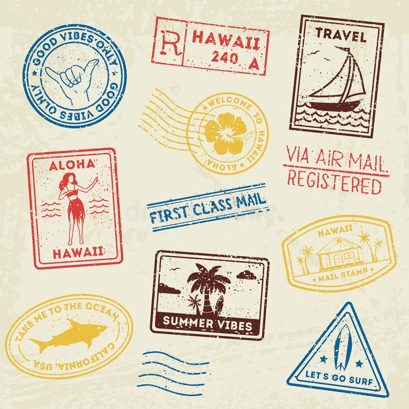 Summer beach post stamps. Hand drawn palm trees and beach elements in retro style. Summer grunge labels, badges and vector illustration