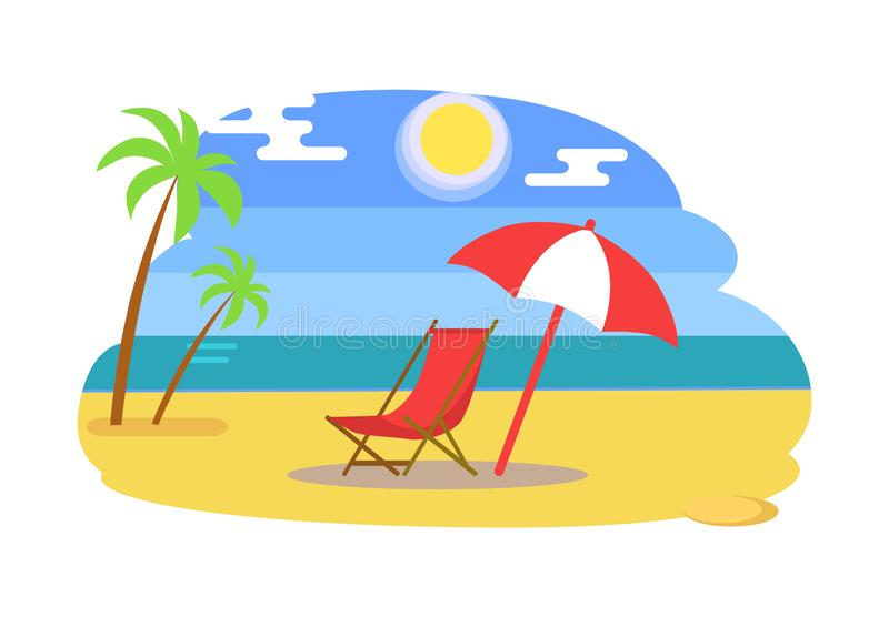 Summer Beach with Recliner under Umbrella near Sea. Palm trees, sun in blue sky, golden sand beside ocean or bay cartoon vector illustration isolated stock illustration