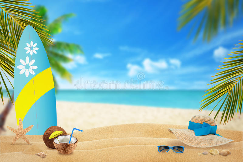 Summer on beach. Relaxing in the shade of palm trees with a cocktail and a view of the beach and sea royalty free stock images