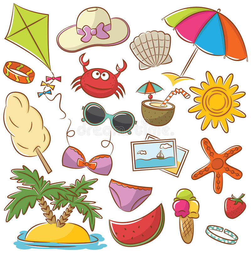 Free Summer Beach Rest Icons Set Stock Photos - 42285863
