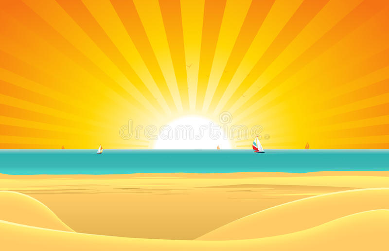 Summer Beach With Sailboat Postcard royalty free illustration