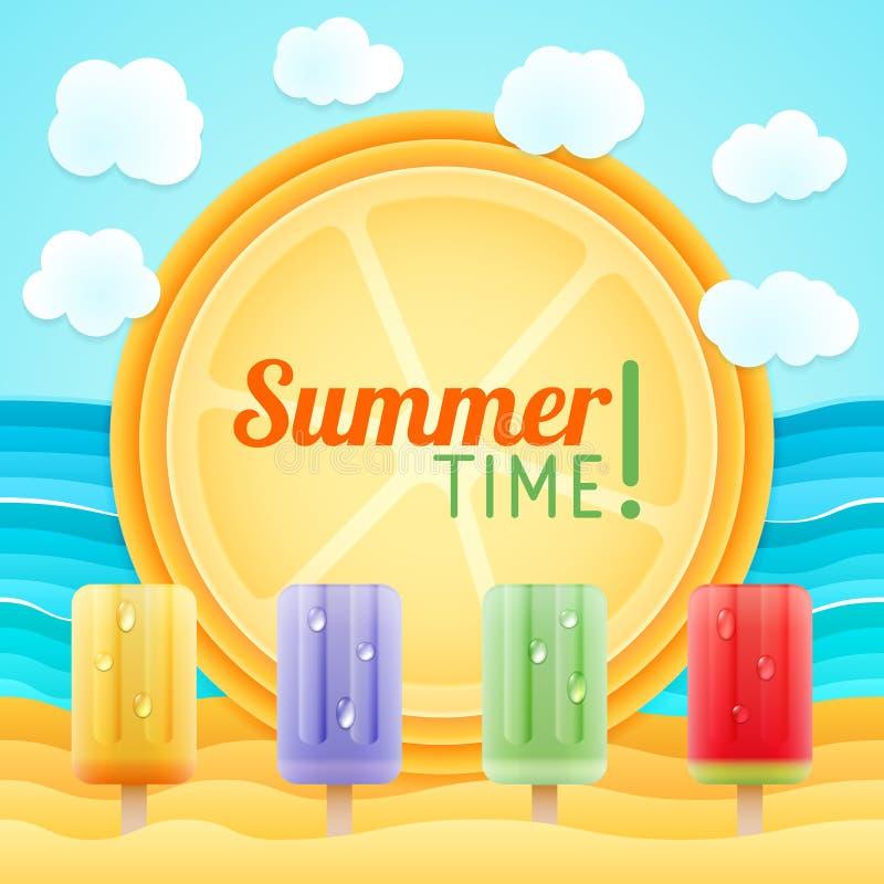 Summer beach, sand, sea, fruit ice. Holiday tour stock illustration