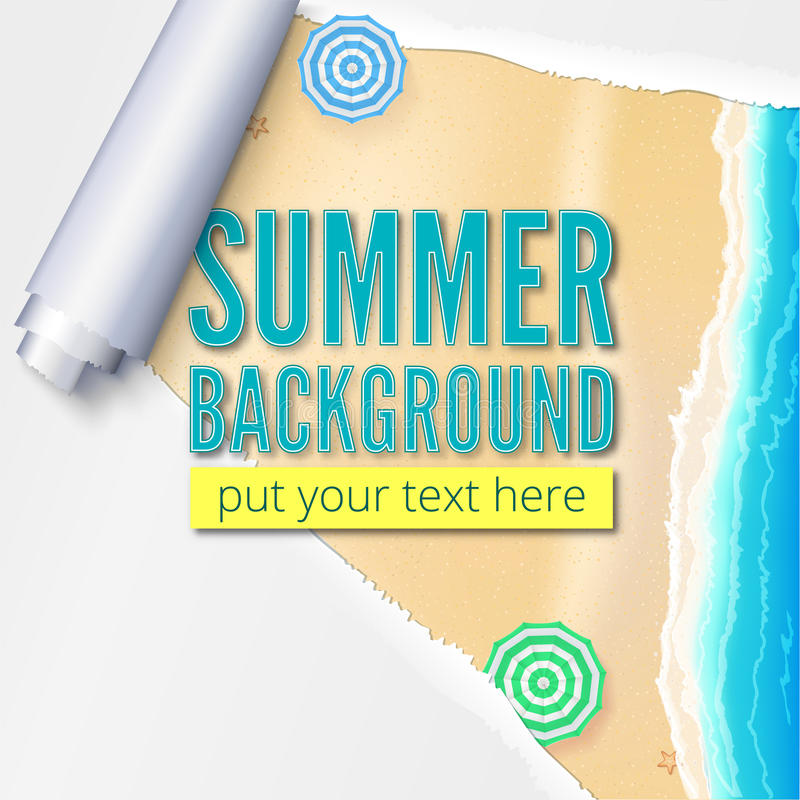 Summer beach with sand, surf and beach umbrellas. Background with torn and twisted paper. Blank advertising poster.  stock illustration