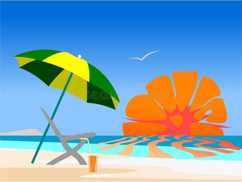 Summer beach scene royalty free illustration