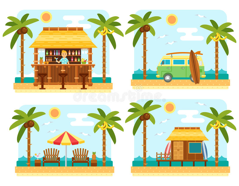 Summer beach scene. Beach scene with bar, surf van, umbrella, chair and bungalow hotel. Flat summer beach, palm tree and sea waves vector landscape. Tropical royalty free illustration