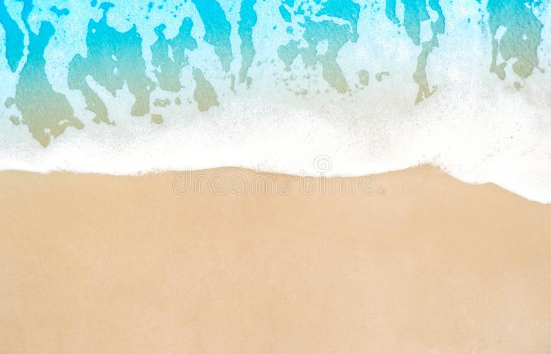Summer beach with soft wave of blue ocean and brown sand nature. Top view. beautiful sea with clear aqua water and clean sandy. Background for summer day stock image