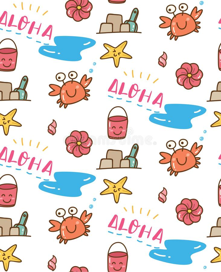 Summer beach stuff doodle seamless pattern. Can be use as background, wallpaper, fabric printing etc stock illustration