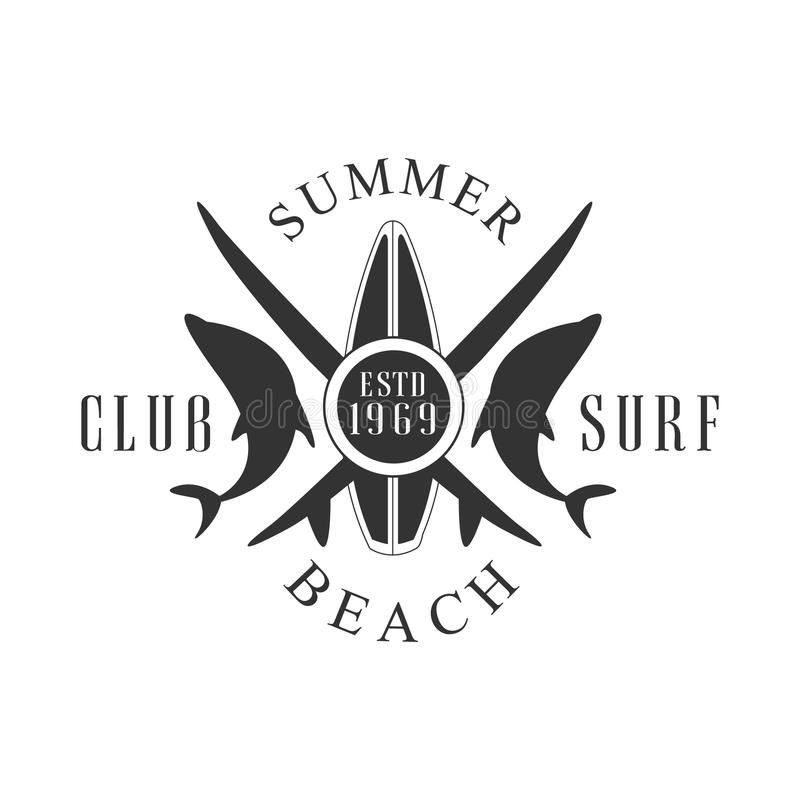 Summer beach surf club logo template, black and white vector Illustration. For label, badge, sticker, banner, card, advertisement, tag stock illustration
