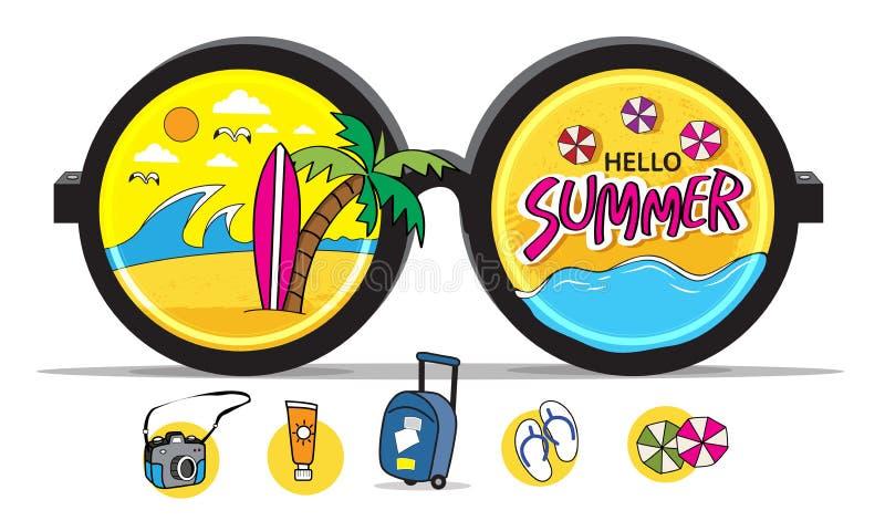 Summer beach surfing icons vector illustration
