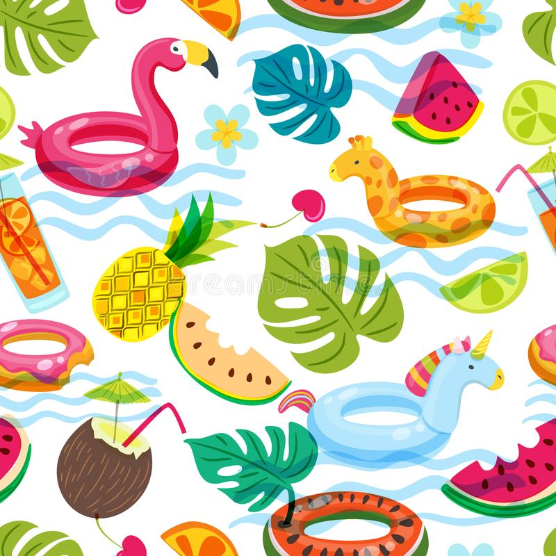Summer beach or swimming pool seamless pattern. Vector doodle illustration of inflatable kids toys, fruits, cocktails. Tropical palm leaves. Trendy design for stock illustration