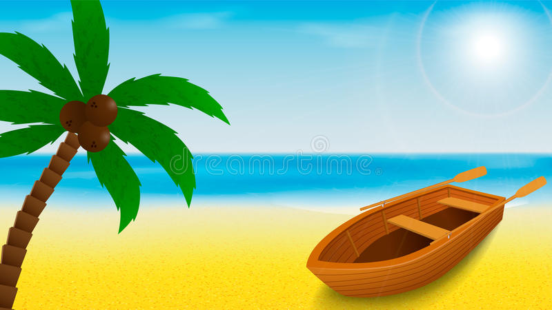 Summer beach template with rowing boat and palm tree on a foreground and tropical blue sea on a background. Vector illustration vector illustration
