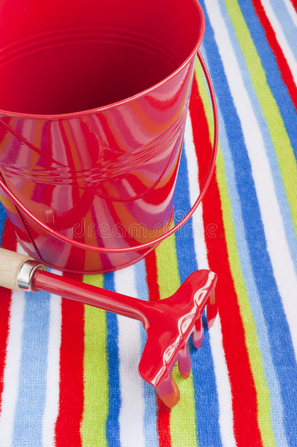 Download Summer Beach Towel Red Children's Toys Stock Photo - Image: 25256976